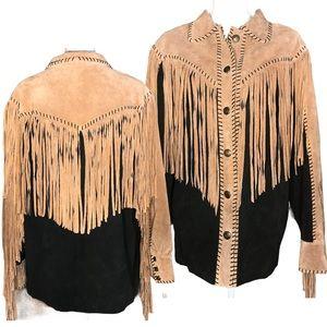 Vtg Bob Mackie Wearable Art Fringe Leather Jacket